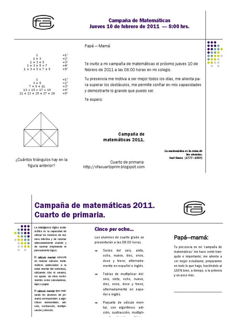 Campaña de matemáticas, cuarto primaria
