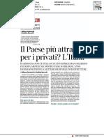 Il paese più attrattivo per i privati? L'Italia - Il Corriere della Sera del 23 novembre 2020
