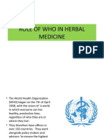 Role of WHO in  herbal medicine