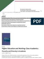 Higher Education and Working-Class Academics - Precarity and Diversity in Academia _ Teresa Crew _ Palgrave Macmillan