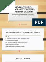 ORGANISATION DES TRANSPORTS TERRESTRES, MARITIMES ET AERIEN