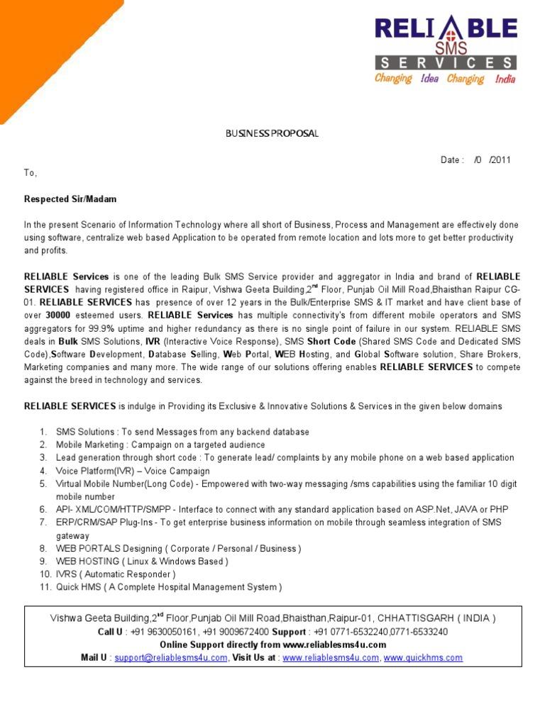 business proposal for bulk sms gateway korba short message service