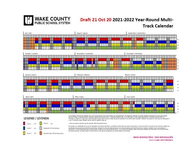 Wcpss Calendar 2021-22 Traditional