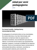 Contra el pedagogismo | Revista Bordes