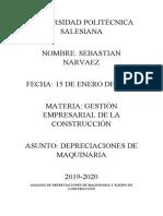 ANALISI DE DEPRECIACIONES DE MAQUINARIA Y EQUIPO DE CONSTRUCCION