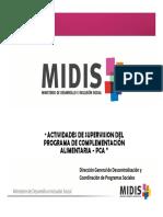 ACTIVIDADES DE SUPERVISION DEL PROGRAMA DE COMPLEMENTACIÓN ALIMENTARIA - PCA