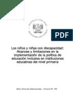490. Los niños y niñas con discapacidad Alcances y limitaciones en la implementación de la política de educación inclusiva en instituciones educativas del nivel primaria