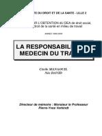 La responsabilité du médecin du travail