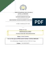 COURS DE SOCIOLOGIE DES ORGANISATIONS