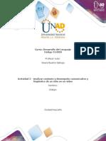 Formato 1. para la elaboración de la actividad 2 - Analizar contexto y desempeño comunicativo y lingüístico de un niño en un video