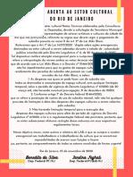 Carta Aberta e Notas para o setor cultural do Rio de Janeiro