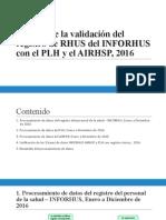 Análisis de la validación del registro de RHUS