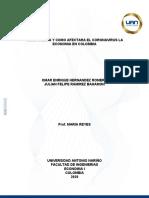 EFECTOS DEL CORONAVIRUS EN LA ECONOMIA COLOMBIANA