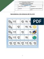 Guia de Aprendizaje SEMANA 33 K a-B Numeros Del 11 Al 15