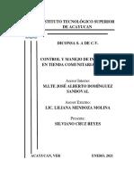 CONTROL Y MANEJO DE INVENTARIO EN TIENDA COMUNITARIA DICONSA S.A DE C.V SILVIANO CRUZ REYES MATRICULA  160B0557 IGEMM