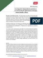 Nota de Prensa CSC