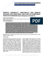 Genetic Variability, Heritability And Genetic Advance For Vegetable Yield And Its Component Traits In Ethiopian Kale (Brassica Carinata A.)