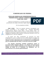 Fiscales Especiales Independientes no presentarán cargos criminales en el caso del Chat
