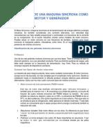 OPERACIÓN DE UNA MAQUINA SINCRONA COMO MOTOR Y GENERADOR