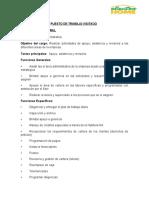 INFORME ANALISIS DE PUESTOS Asistente Administrativo