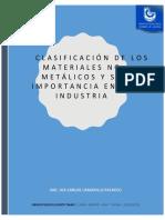 Resumen. Clasificación de materiales y su importancia en la industria