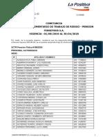 SCTR La Positiva Seguro Com. de Trabajo de Riesgo Pension del 01.08.19 al 30.04.20