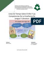 Línea de tiempo sobre el año y las competencias de la enseñanza de lengua y literatura