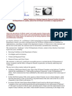 11-02-10 Press Release:Deliberately Misleading Testimony of Acting Inspector General Cynthia Schnedar, US Department of Justice, before the US House Committee on Appropriations