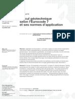 Calcul géotechnique selon l'Eurocode 7 et ses normes d'application