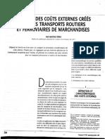 Analyse des coûts externes créés par les transports routiers et ferroviaires de marchandises