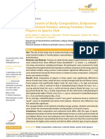 Attlee A, S. 2017. Assessment of Body Composition, Endurance and Nutrient Intakes among Females Team Players in Sports Club