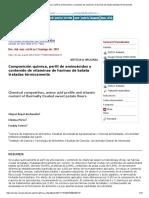 Composición química, perfil de aminoácidos y contenido de vitaminas de harinas de batata tratadas térmicamente