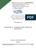M1-GEO-Mécanique des Roches- StabVers-TD1
