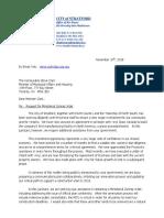 City's Letter to Housing Affairs Minister Steve Clark November 2018