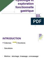 Physiologie et exploration fonctionnelle gastrique