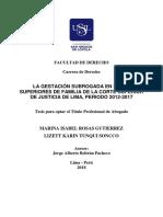 LA GESTACION SUBROGADAEN LAS SALAS SUPERIOR DE FAMILIA DE LA CORTE SUPERIOR DE JUSTICIIA DE LIMA