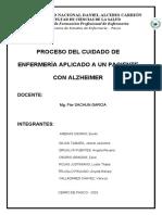 PLAN DE CUIDADOS - ENFERMEDAD DEL ALZHEIMER