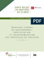 Gouvernance belge en matière de climat – Nouveaux cadres de gouvernance, participation et (re)dynamisation des processus de décision (2018)