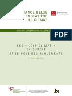 Gouvernance belge en matière de climat – Les « lois climat » en Europe et le rôle des parlements (2018)