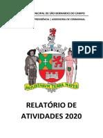 Relatorio de Atividades 2020 - Assessoria de Cerimonial - Câmara Municipal de São Bernardo do Campo