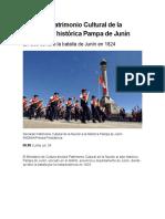 Declaran Patrimonio Cultural de la Nación a la histórica Pampa de Junín