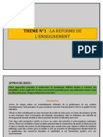 THEME N°1 LA REFORME DES L_ENSEIGNEMENT