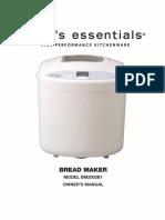 Instruction Manual For Cook's Essentials Model BM2002B1 Breadmaker