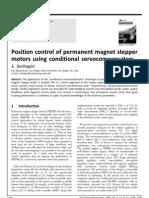 Position control of permanent magnet stepper motors using conditional servocompensators