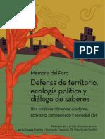 defensa del territorio- ecologia politica y dialogo de saberes