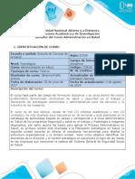 Syllabus del curso Administración en Salud