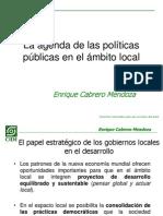 Agenda de las Políticas Publicas en el ámbito Local
