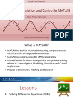 Modelling and Simulation in MATLAB - Overview