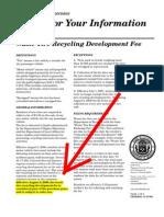FYI - Wast Tire Recycling Development Fee