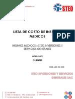 2 LISTA DE COSTO DE INSUMOS MEDICOS 2020 STEO INVERSIONES